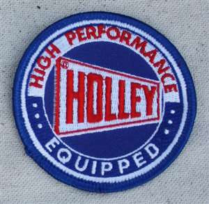 "Holley Carb embroidered patch, 3"" H/W.  Retro style patch based on an old school 60s patch."