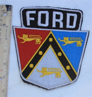 """Vintage NOS 1950's Embroidered FORD Shield Patch A large 6 3/4"""" x 6"""", these are made the good old fashioned way - """"to last"""". The quality is amazing. They have a small amount of sticky that should be ironed on when they have been sewn onto a garment."""