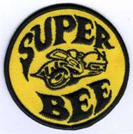 "Super Bee Patch. Old Patch, 3""inche in diamater. Yellow canvas backing with black embroidered thread."