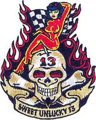"Vince Ray's Sweet Unlucky 13 embroidered patch. 3 3/4"" x 3"" featuring hot rod devil girl atop #13 skull"