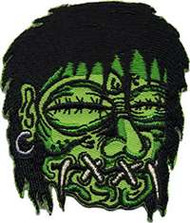 KRUSE Fully Embroidered Shrunken Head Patch. Green and Black.