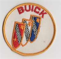 "Vintage BUICK Tri-Shield embroidered shirt or jacket patch. Full color on white canvas with golden orange border. 3"" diameter.  probably from late 1960's to early 1970's vintage"