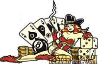 """Ace Queen Sticker from Vince Ray. 4"""" high x 6"""" long with peel off backing"""