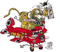 "Red Baron - Monster sticker  Features eyeball creature pilot in Red Baron plane by Kozik.  Measures 4 1/2"" high by 5"" wide."