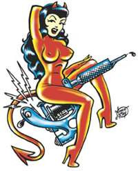 "Vince Ray Tatt Girl Sticker/Decal - Large Sticker 5"" Tall"