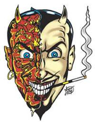 """5 1/2"""" x 4"""" Vinyl Sticker by Vince Ray - Sexy Devil, featuring two sided face - Hidden Sexy Devil Girls on one-half and Evil Devil on other side."""