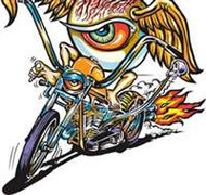 "Hug 5"" x 5"" Sticker from hot rod artist Von Franco, Eye-Psycho Crack n peel backing"