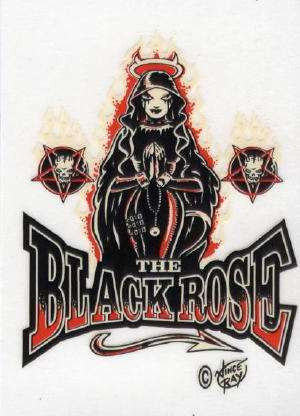 "The Black Rose tattoo style clear vinyl sticker. 2.75"" x 3.5"""