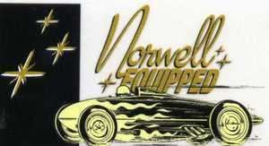 "Norwell Equipped decal. 4 1/2"" x 2 1/2"" thick vinyl sticker with peel-off backing."