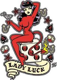 "Lady Luck Sticker from Vince Ray. 5"" high x "" wide with peel off backing."