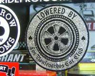 "3 1/2"" Diameter LOWERED BY Los Boulevardos Car Club round decal/sticker Nice thick quality vinyl sticker with peel off backing - Silver metalflake in a translucent clear. Very Cool!"