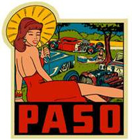"A sexy car show venue sticker featuring PASO and an umbrella-toting beauty, one of six ""West of the Rockies"" John Bell-penned stickers: 4"" of vivid 1950's style color"