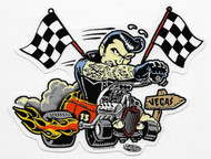 Vince Ray Hot Rod To Vegas 13 Flags Sticker