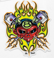 8 Ball Devil Piston Sticker by Von Franco