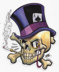 Pizz Top Hat Skull Sticker