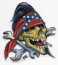 PIZZ Wrench Skull sticker