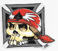 PIZZ Iron Cross Skull Sticker