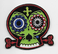 Chico Von Spoon Green and Black Sugar Skull patch