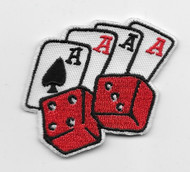 Rockabilly Lucky Seven Dice and Cards Iron on Embroidered Patch