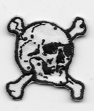 Small Right-facing Skull and Cross Bones Patch