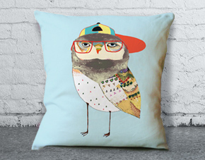 image of cushion with bird on it