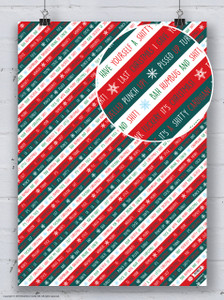 Rude Xmas Stripe Christmas Gift Wrap