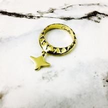 CAMILLA - Drop Motif Ring - Gold Brass