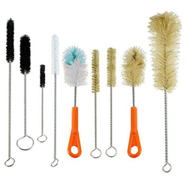 Houseables Ultimate Bottle & Tube Brush Cleaning Set 9 Sizes & Shapes - Natural & Synthetic - Front View