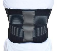 Back Support Brace Belt Lumbar Lower Waist Double Adjust- L, Back View