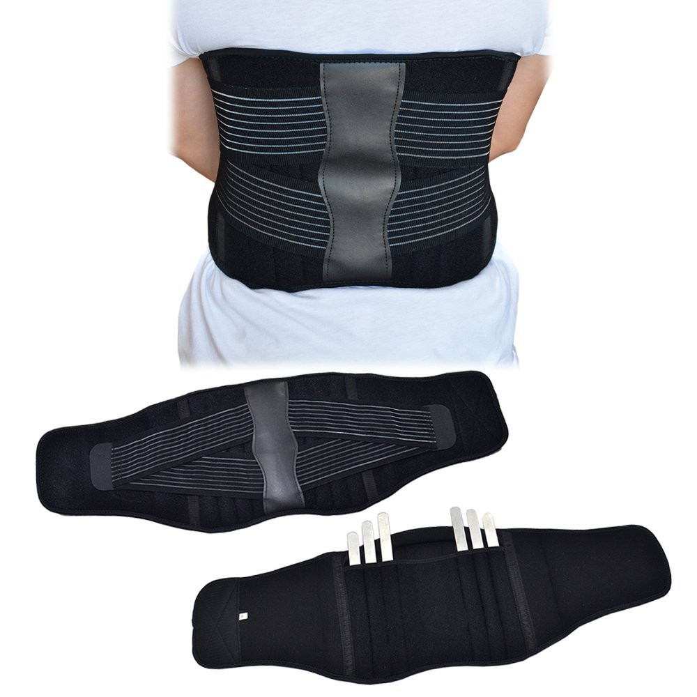 Back Support Brace Belt Lumbar Lower Waist Double Adjust Xl Posture Power Magnetic Corset Close Up View Loading Zoom