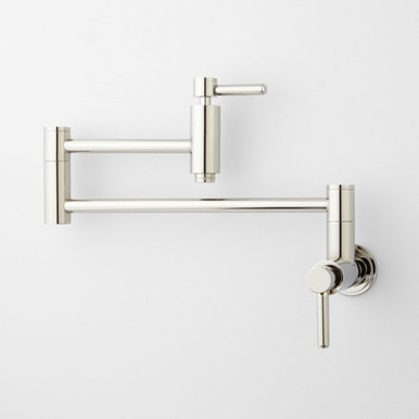 Modern Retractable Double Joint Spout Wall Mount Pot Filler Polished Nickel, Close Up View