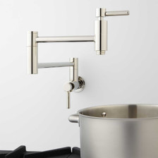 Modern Retractable Double Joint Spout Wall Mount Pot Filler Polished Nickel, Used View