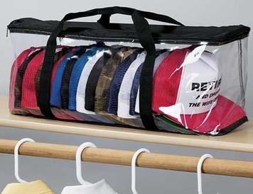 Baseball Cap Hat Storage Bag Case Zipper Shut Organizer, Clear, Stores 15 Caps Close Up View
