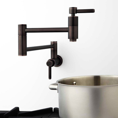 """21"""" Modern Retractable Wall Mount Pot Filler Oil Rubbed Bronze - Use View"""