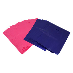 "100 Pink/Purple Plastic Bags Shopping Merchandise Retail 12"" x 15"" Diecut Handle"