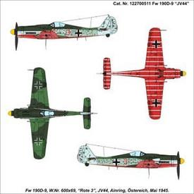 FW-190D9 JV-44 ROTE 3. Arsenal-M 222700511 Unassembled Plastic Kit