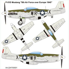 P-51D MUSTANG 1945  Arsenal 224700501 Plastic 1/87 Scale Kit Unfinished