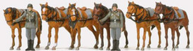 German Reich Draught Horses(6)  & Soldiers. Preiser 16597 Unfinished Plastic Kit