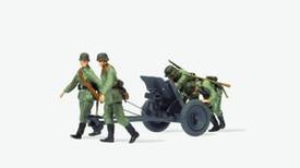 German 3.7cm PAK L/45 AT Gun w/4 Figures. Preiser 16602 New 1/87 Scale Kit Unfin