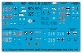 Tank & Vehicle Markings Eastern Front 1943-44 Peddinghaus 2114 Decals 1/87 Scale