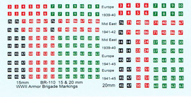 British WWII Armor Markings, 1939-45 BR110 for 15mm Scale