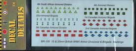 British, Canadian, S.African Armor Insignia BR109 for 1/87 and 15mm Scale