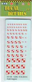 Polish WWII Insignia Decals. I-94 MI105. New Various Scales to 1/87