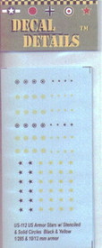 US Stars in Black Stenciled & Solid Circles. I-94 US112. 1/285 & 10 - 12mm Armor