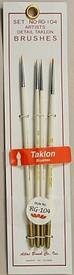 Taklon Detail Paint Brushes, 10/0, 5/0, 3/0, & 0. Atlas Brush BRU104