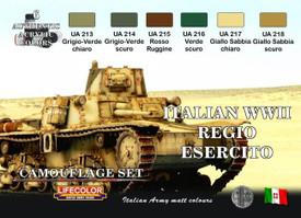 Italian WWII Camouflage set, 6 Colors. Lifecolor CS8