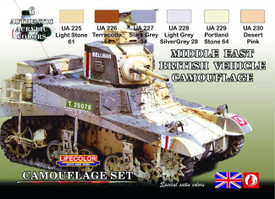 British WWII Mid East Vehicles Camouflage, 6 colors. Lifecolor CS16