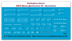 German 80ton Flat Car Markings Peddinghaus 658, New 1/87 Scale