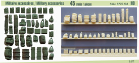 Military Accessories 45 pcs. AlsaCast 8775.134 New Resin kit. 1/87 Scale
