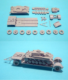 German Sd.Anh. 115, 10t Trailer & Panzer II Ausf. F  WSW 87S2201 Resin 1/87 Scal